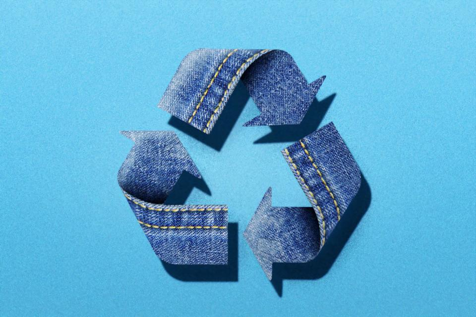 The recycle symbol in denim.
